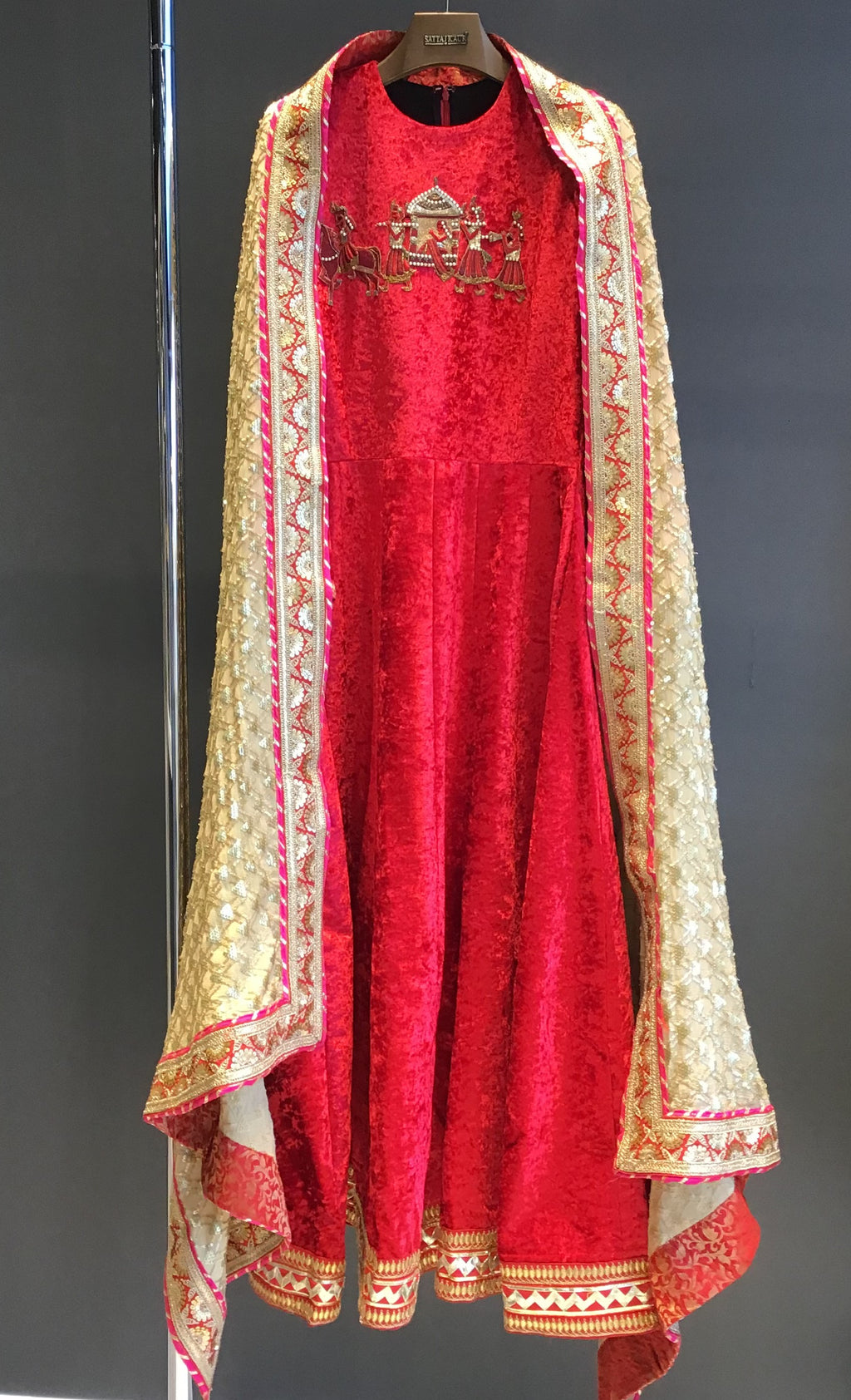 Red Velvet Anarkali Dress