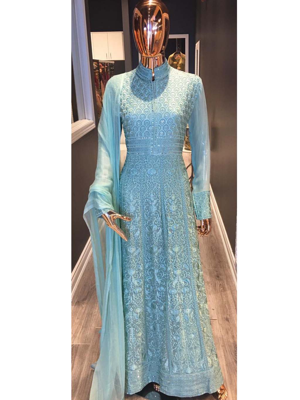 Sea Green Anarkali Suit with Churidar