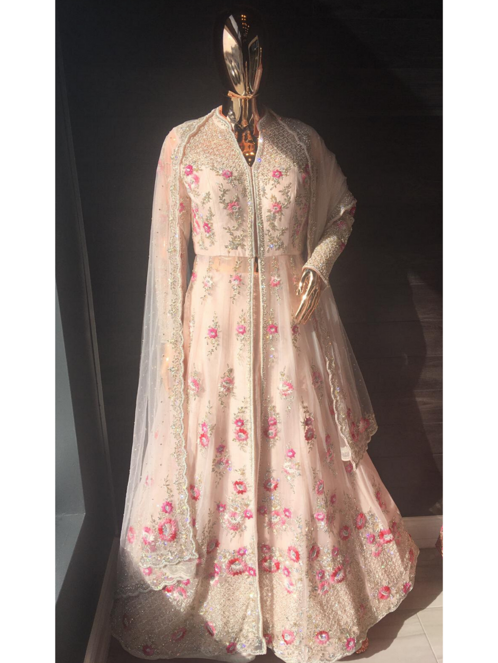 Light Pink Front-slit Anarkali