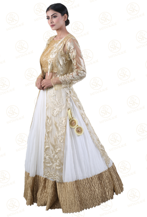 High-class Gold and White Lehenga Choli