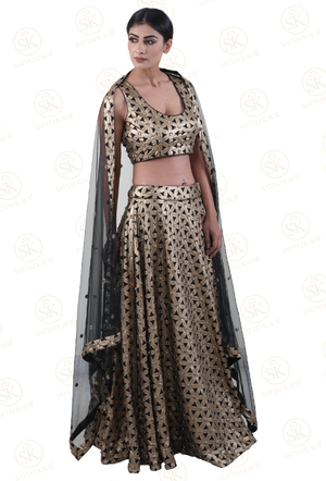 Fearless Black and Gold Patterned Lehenga Choli