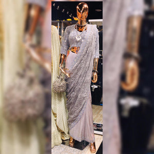 Gray Tulle Saree