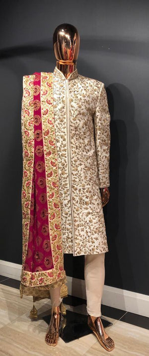 Ivory Sherwani with Red Royal Palla