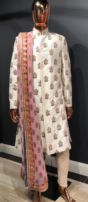 Traditional Ivory Sherwani with Royal Palla