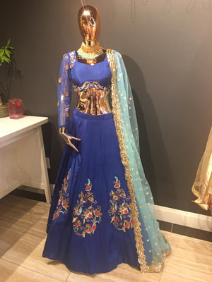 Royal Blue Silk Lehenga