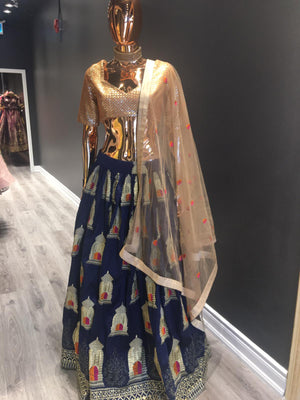 Dark Blue and Golden Lehenga