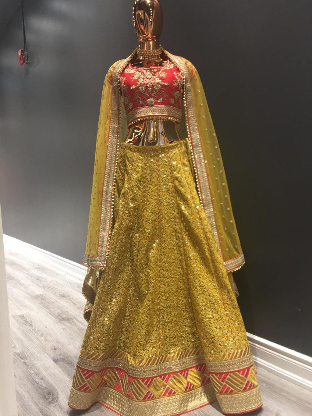 Charming Yellow Net Lehenga