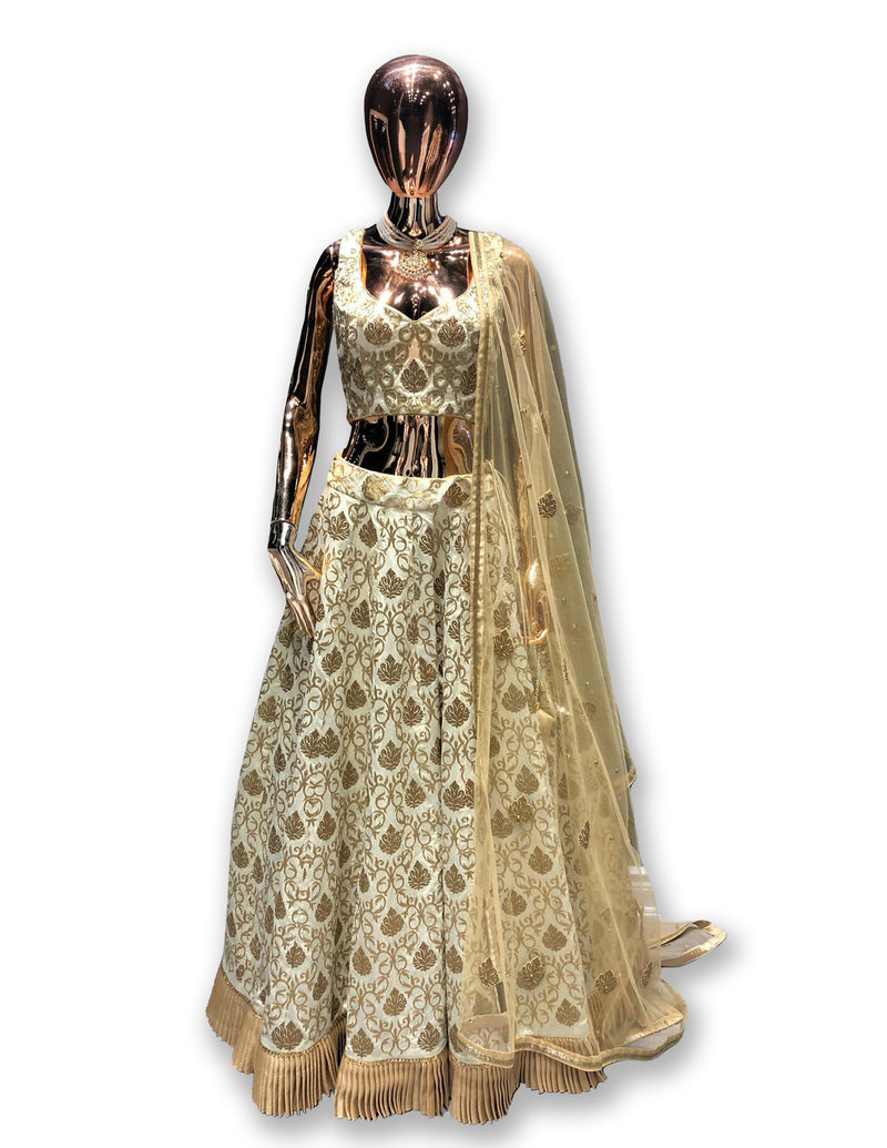 Brocade Ivory - Gold Lehenga Choli