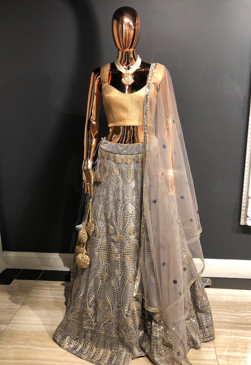 Party Wear Grey Net Lehenga
