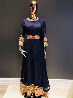 Royal Blue Floor-length Anarkali Suit