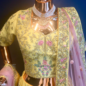 Traditional Yellow Raw Silk Lehenga