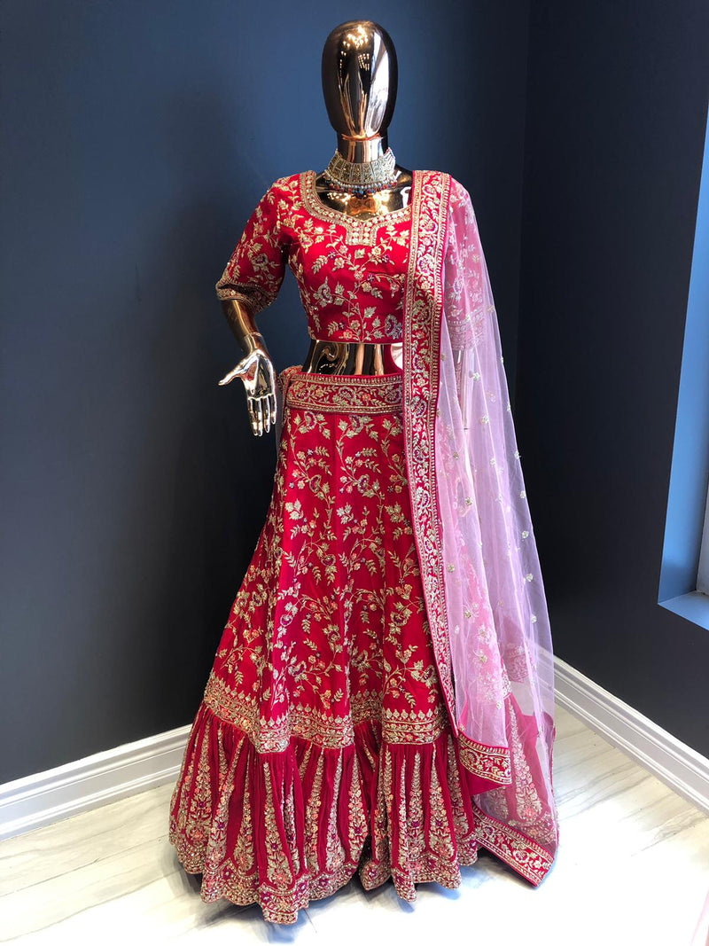Red and Pink Indian Bridal Lehenga
