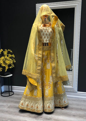 Yellow-White Lehenga Choli for Haldi