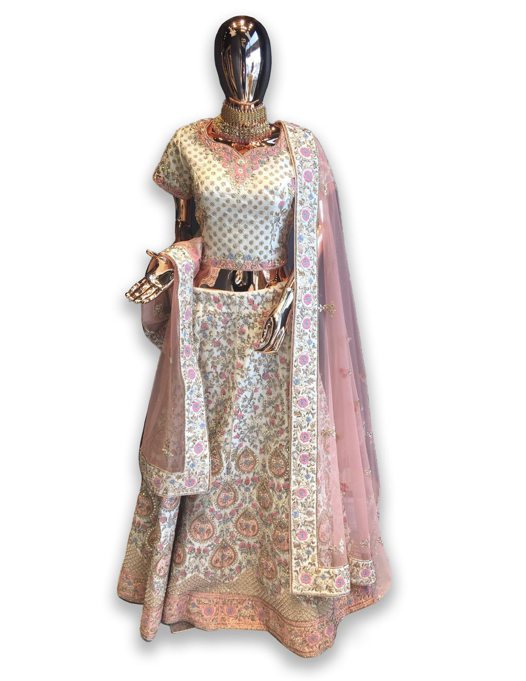 Ivory Raw Silk Bridal Lehenga Choli