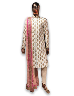 Ivory Sherwani with Pink Royal Palla