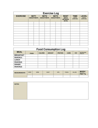 Exercise Log Sheet for Personal Trainer
