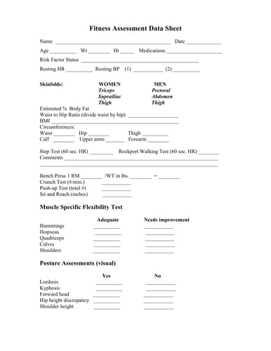 Fitness Assessment Forms (Word and Pdf format)