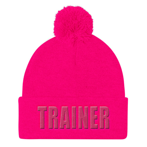 Personal Trainer Pink Pom Pom Knit Cap