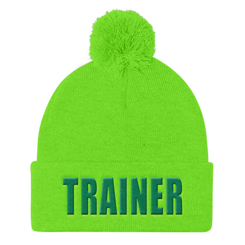 Personal Trainer Lime Green Pom Pom Knit Cap