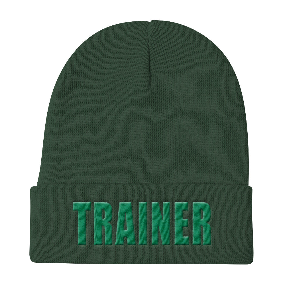 Personal Trainer Green Knit Beanie