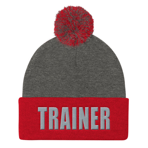 Personal Trainer Red and Gray Pom Pom Knit Cap