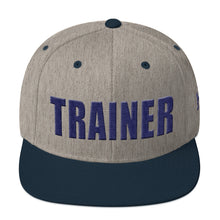 Load image into Gallery viewer, Personal Trainer Snapback Hat Gray with Navy Blue Trim