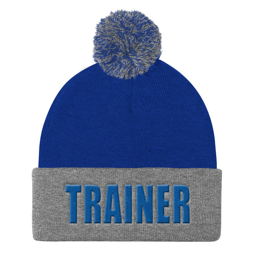 Personal Trainer Royal Blue and Gray Pom Pom Knit Cap