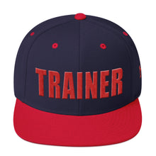 Load image into Gallery viewer, Personal Trainer Snapback Hat Navy Blue with Red Trim