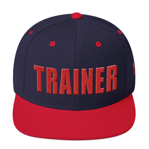 Personal Trainer Snapback Hat Navy Blue with Red Trim