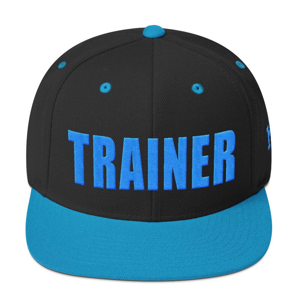 Personal Trainer Snapback Hat Black and Teal