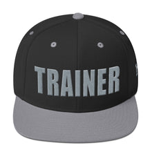 Load image into Gallery viewer, Personal Trainer Snapback Hat Black with Gray Trim
