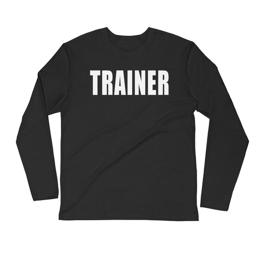 Personal Trainer Solid Color Long Sleeve Fitted Crew T-shirt (More colors available)