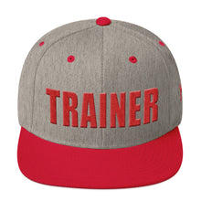 Load image into Gallery viewer, Personal Trainer Snapback Hat Gray with Red Trim