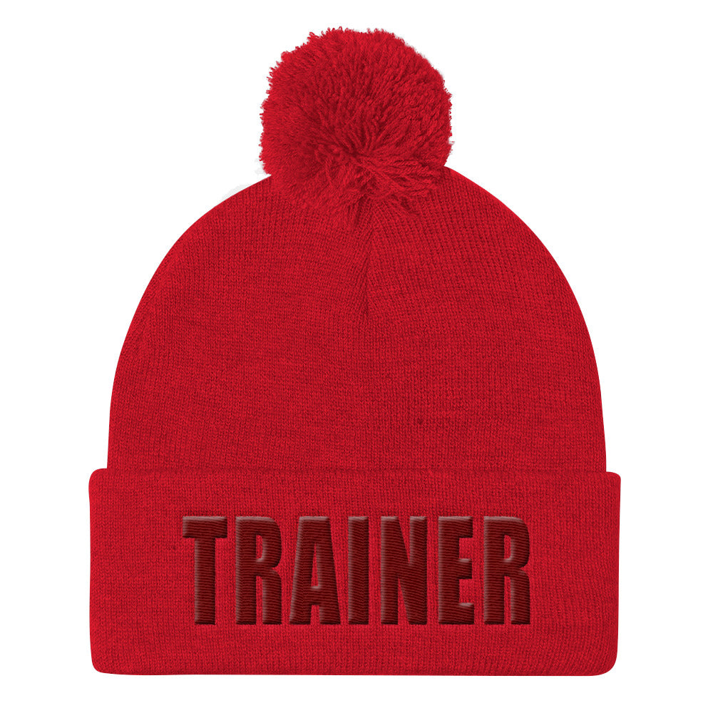 Personal Trainer Red Pom Pom Knit Cap