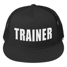 Load image into Gallery viewer, Personal Trainer Black and White Truckers Hat