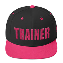 Load image into Gallery viewer, Personal Trainer Snapback Hat Black With Pink Trim
