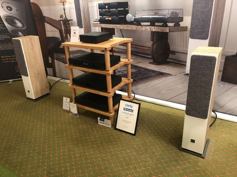 The DALI Loudspeakers room at Bristol Hi-Fi Show 2019 featuring an Omnium8 rack