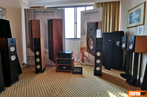 The Ophidian Audio room at Bristol Hi-Fi Show 2019 featuring a Podium Slimline rack