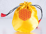 'FLOWER OF LIFE' Satin Pouch Gift Bag / Yellow