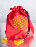 'FLOWER OF LIFE' Satin Pouch Gift Bag / Red