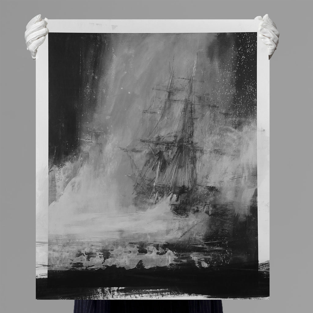 Jake Wood-Evans - Seascape with Charcoal - B&W Edition - White Paint