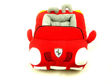 Load image into Gallery viewer, pug swag fast car ferrari snuggle bed, for small dog, red cotton, removeable cover, hand wash only. quality dog bed.