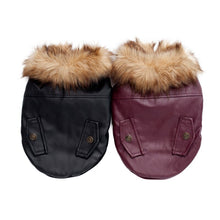 Load image into Gallery viewer, back viw of pug swag pug dog aviator jacket / coat with faux fur trim / lining with leather look. tight-fitted. for male or female pugs. comes in s, m, l, xl.