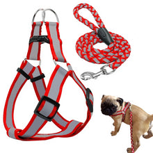 Load image into Gallery viewer, cool reflective pug swag small dog harness red or yellow with lease