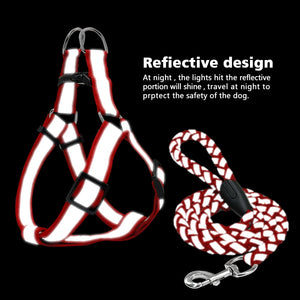 product description for cool reflective pug swag small dog harness red or yellow with lease