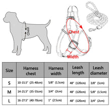 Load image into Gallery viewer, sizing chart for cool reflective pug swag small dog harness red or yellow with lease