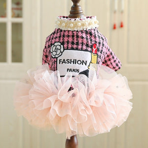 pug swag small dog dress the parisian coco chanel style tweed pink with black or black with cream and lace trim, elegant and fun for pug dog