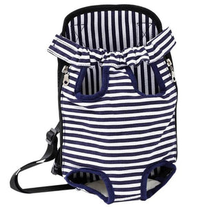 pug swag portable front carrier backpack stripey for travelling and bicycle rides, adjustable strap for small dogs and cats.