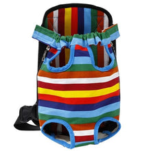 Load image into Gallery viewer, pug swag portable front carrier backpack stripey for travelling and bicycle rides, adjustable strap for small dogs and cats.