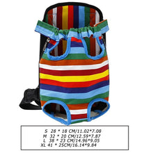 Load image into Gallery viewer, pug swag portable front carrier backpack stripey for travelling and bicycle rides, adjustable strap for small dogs and cats. sizing chart